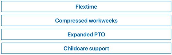 Flextime, Compressed workweeks, Expanded PTO, or Childcare Support